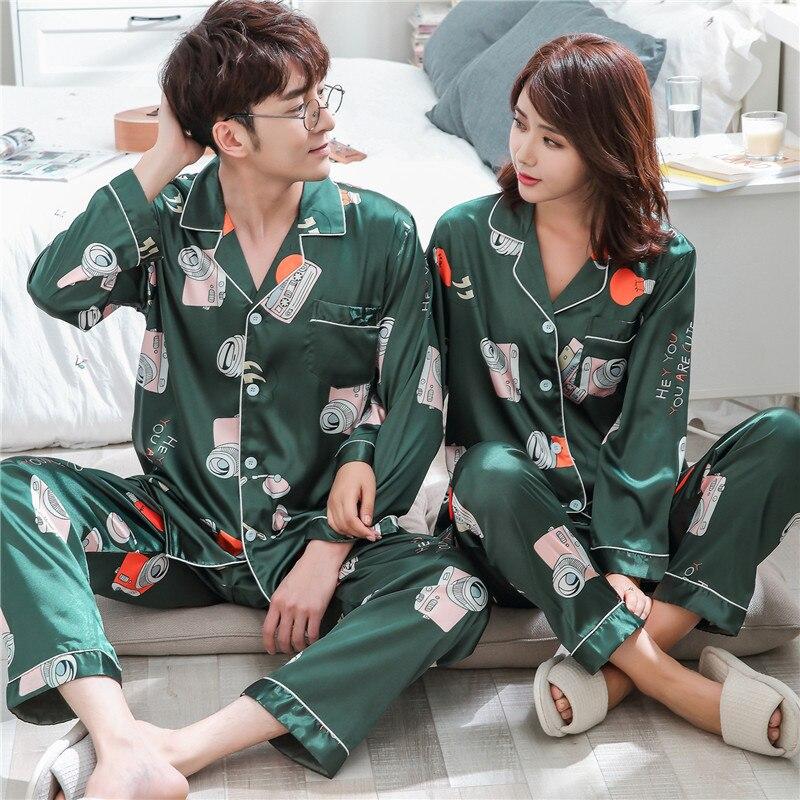 Image 2 - BZEL Sleepwear Women's Couple Pajamas Pijamas Women Satin Pyjama Woman Home Wear Silk Pyjama Set Home Suit Big Size Dropshipping-in Pajama Sets from Underwear & Sleepwears