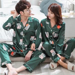 Image 2 - BZEL Sleepwear Womens Couple Pajamas Pijamas Women Satin Pyjama Woman Home Wear Silk Pyjama Set Home Suit Big Size Dropshipping