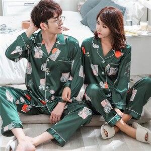 Image 2 - BZEL pijama kadın çift pijama Pijamas kadınlar saten pijama kadın ev giyim İpek pijama takımı ev takım elbise büyük boy Dropshipping