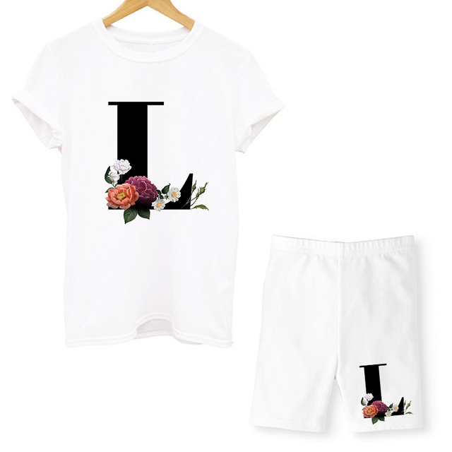 Women Two Piec Set Letter T Shirts And Shorts Set Summer Short Sleeve O-neck Casual Joggers Biker Shorts Sexy Outfit For Woman 5