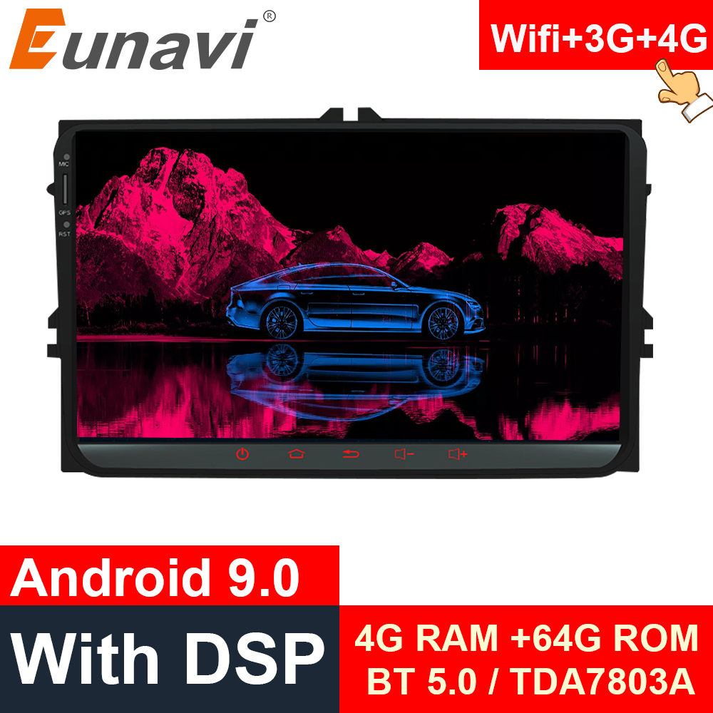Eunavi 2 Din Android system Car multimedia player for VW GOLF 5 6 Polo Magotan Passat B6 CC Tiguan Touran 2din radio gps NO DVD image