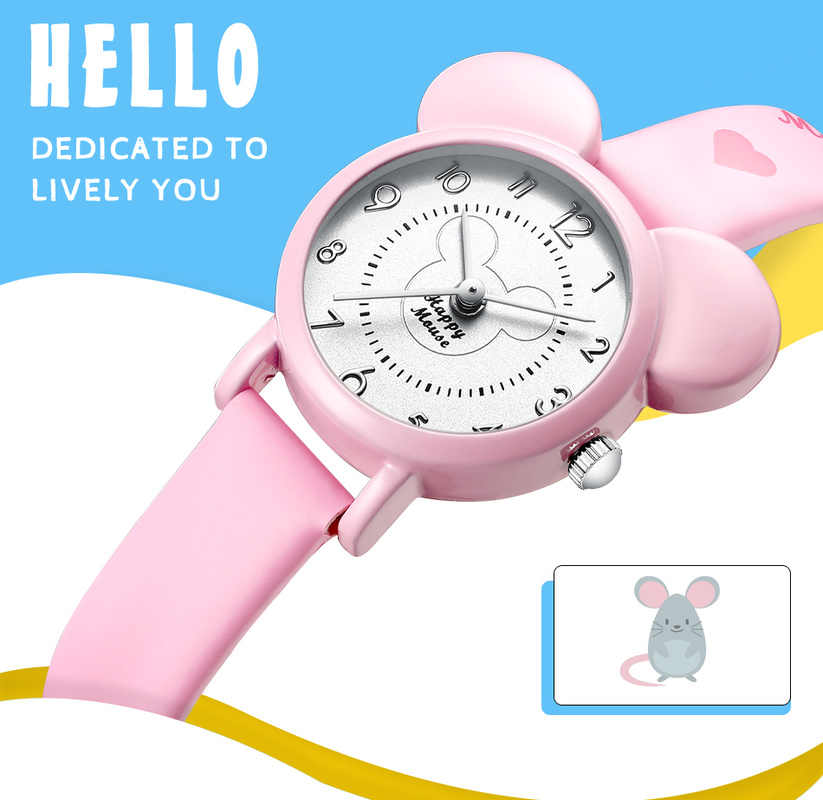 KDM Kinder Horloge Jongens Kids Watch for Children Student Sport Watch Girls Pink Wristwatch Leather Strap Cute Gifts 0010