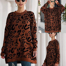 Women Oversized Leopard Print Long Sleeve Casual Knitted Jumper Pullover Tops CX17
