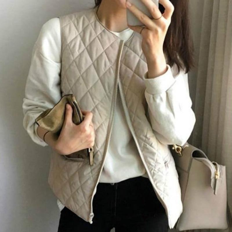 women new cotton vest short paragraph lightweight coat round neck long loose Autumn and winter Zipper