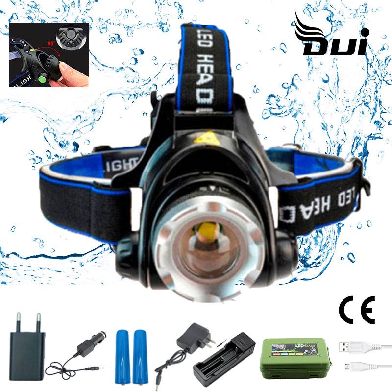 DUI T6 18650 Powerful Rechargeable Headlamp Fishing Bicycle 4 Led Headlight Mining Hunting Waterproof Zoom Cap Flashlight Torch