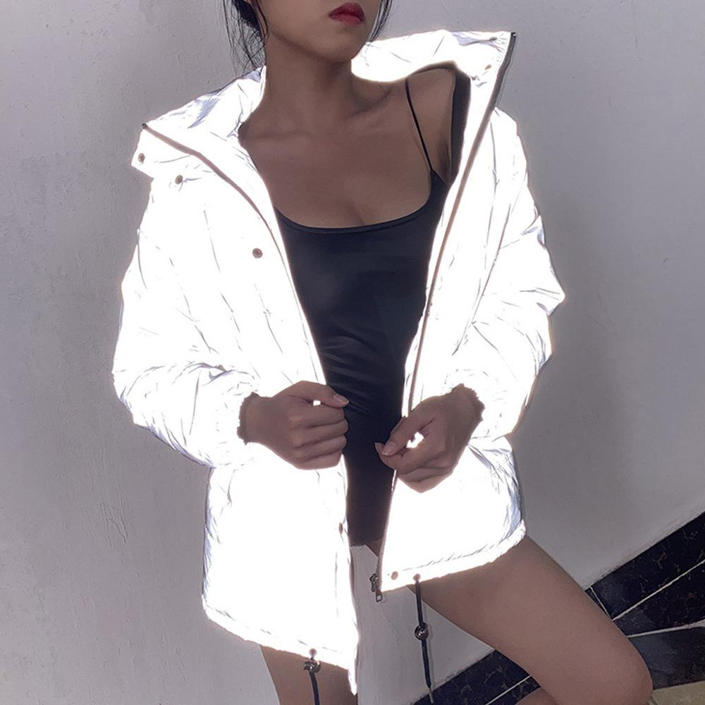 Women's Jacket Parka Round-Neck Warm Reflective Winter Luminous Thick Fashion And Casual title=