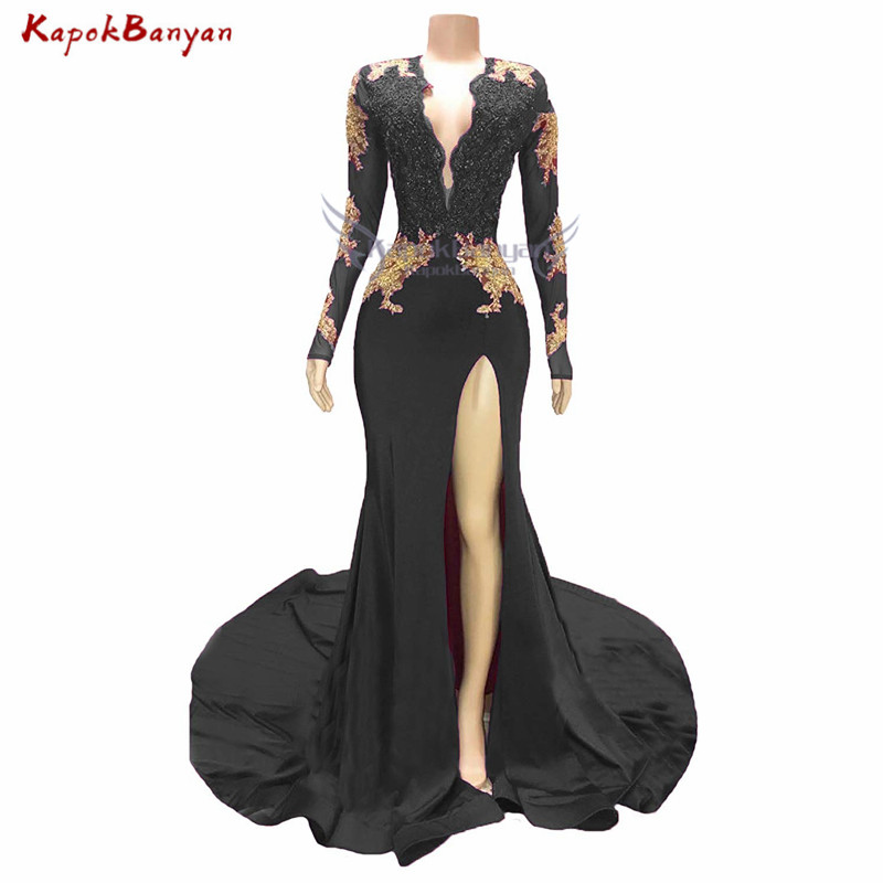 Side Split Gold Applique Mermaid Prom Dress for Black Girls Long Sleeves Zipper Beaded Evening Gown Sexy Prom Dresses Long 2019