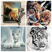 Huacan 5D DIY Diamond Painting Tiger Full Square Diamond Embroidery Animal Art Kit Decorations Home