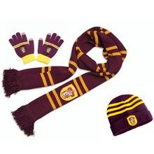 Хогвартс Шарфы шапки перчатки Гриффиндор/Слизерин/Hufflepuff/Ravenclaw Гарри поттер шарф шарфы шапки сенсорные перчатки подарок на Хэллоуин