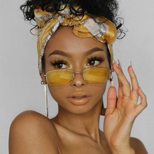 Vintgae Giallo Rettangolo Occhiali Da Sole Degli Uomini Delle Donne di anni '90 Fresco Piccola Cornice Occhiali Da Sole Per Le Donne 2020 Carino Fresco Bicchieri di Metallo A Specchio
