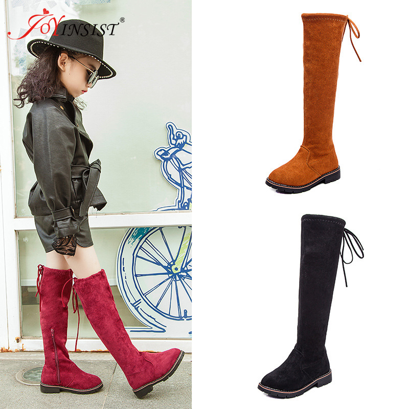 Children Over The Knee Boots Leather Fur Rubber Sewing Shoes For Girl Toddler