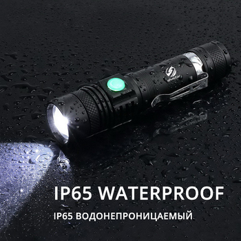 Ultra Bright LED Flashlight With XP-L V6 LED lamp beads Waterproof Torch Zoomable 4 lighting modes Multi-function USB charging 6