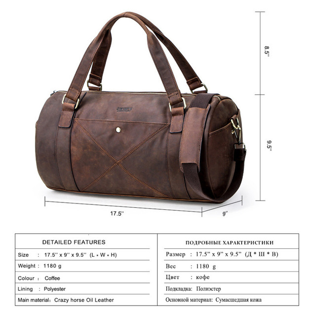 Genuine Leather Men Travel Bags Organizer Luggage Duffle Weekend Bag Crazy Horse Leather Travelling Bag More Function Packing 2
