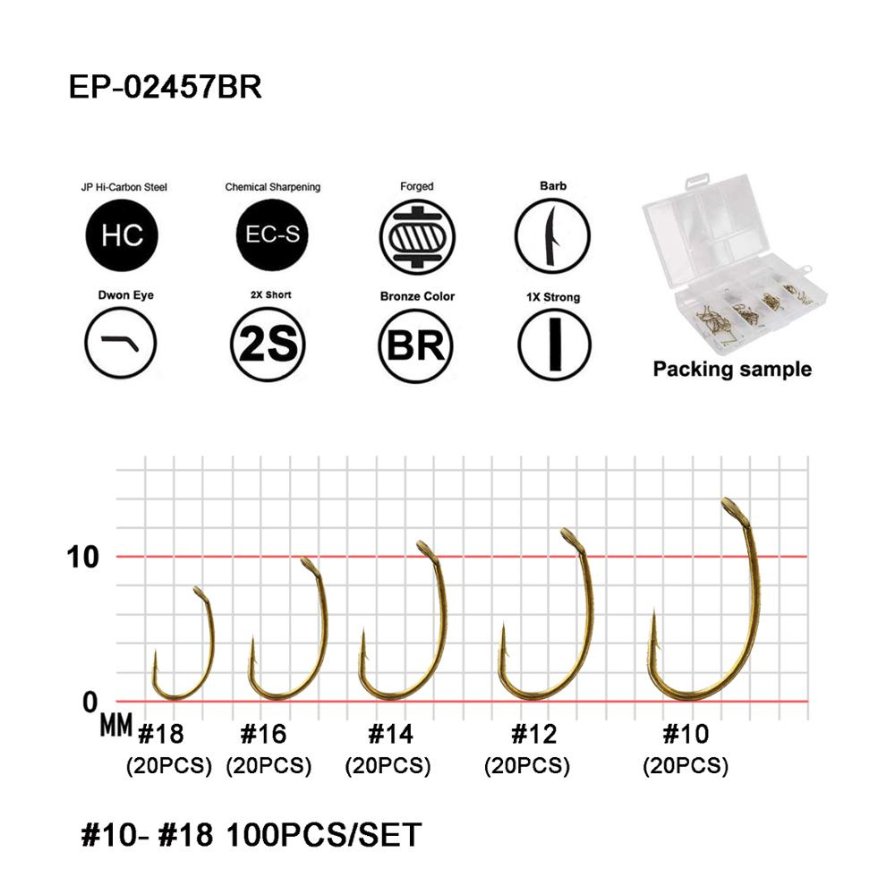 TIEMCO 100 PACK TMC2457 SIZE 6 NYMPH FLY FLY-TYING HOOKS