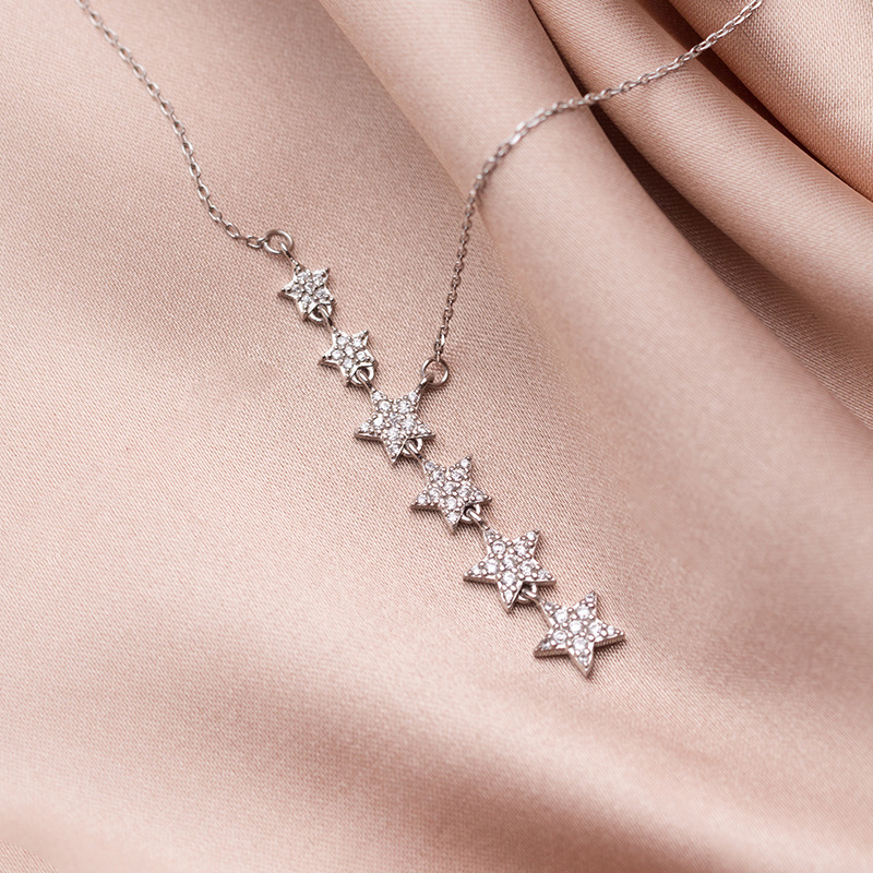 925 Sterling Silver Party Pendant Necklace Women Fashion Female Chain Choker Charms Jewelry Pentagon-star Gifts For Girlfriend