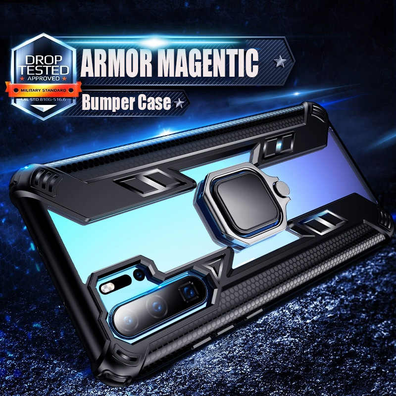 Luxury Shockproof Armor Bumper Cover For Huawei P30 Pro Mate 20X Honor 8X 10 Lite Y7 Y6 Y9 P Smart 2019 Car Magnetic Ring Case