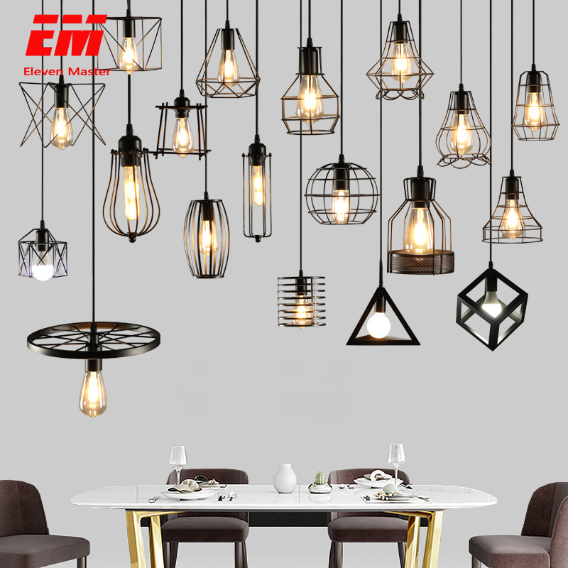 Luz pingente de gaiola de ferro moderna minimalista Escandinavo retro loft pirâmide pingente de metal da lâmpada Lâmpada Pendurada E27 ZDD0011 Interior