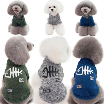 Fish Bone Pet Dog Sweater Coat Puppy Cat Pullover Knitwear Winter Bulldog Clothes For Small Medium Dogs Teddy Costume S-XXL image