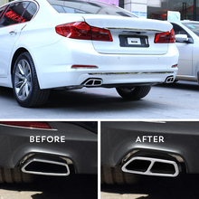 цена на 1 Pair Car Rear Exhaust Muffler Pipe Tip End Cover Sticker Trim G30 Stainless Steel Decoration For BMW 5 Series 2017-2018