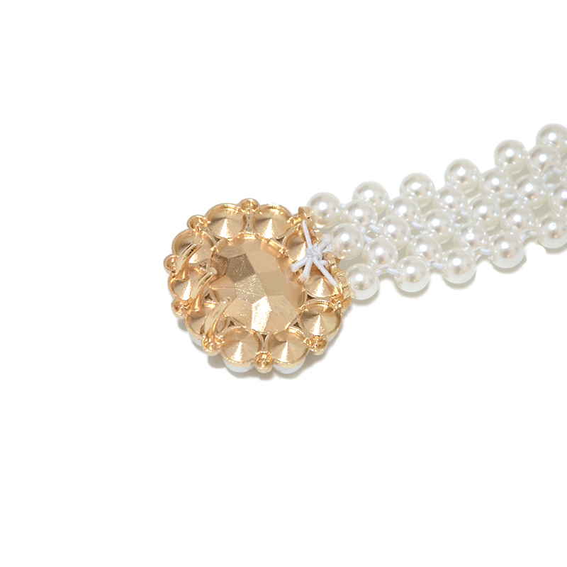 Luxury Brand Desinger 2020 New Big Diamond Decoration Elastic Chain 2CM Wide Pearl Buckle Ladies Thin Belt BG-1486