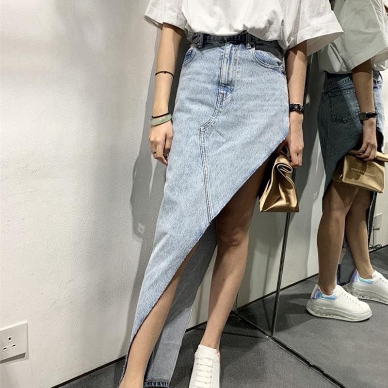 Women's Irregular Slim Denim Skirt  High Waist Cotton Zipper Pockets Skirt New Fashion