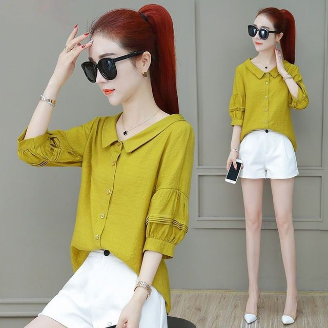 Fashion Women Spring Summer Style Blouses Lady Casual Shirt Short Sleeve Peter Pan Collar Women Clothes Blouses Tops DF3324 4