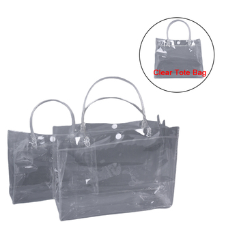 1 Piece Clear Tote Bag PVC Transparent Shopping Bag Shoulder Handbag Stadium Approved Environmentally Storage Bags image