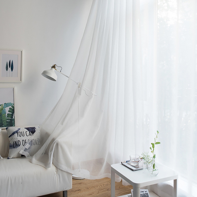 Modern Nordic Sheer Tulle Window Curtains Solid White Gray Black Screening Voile Drapes Living Room Home Decor Furniture Cover 3