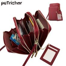 Bolsa de couro de luxo feminina, bolsa de mão com zíper de tamanho grande para celular
