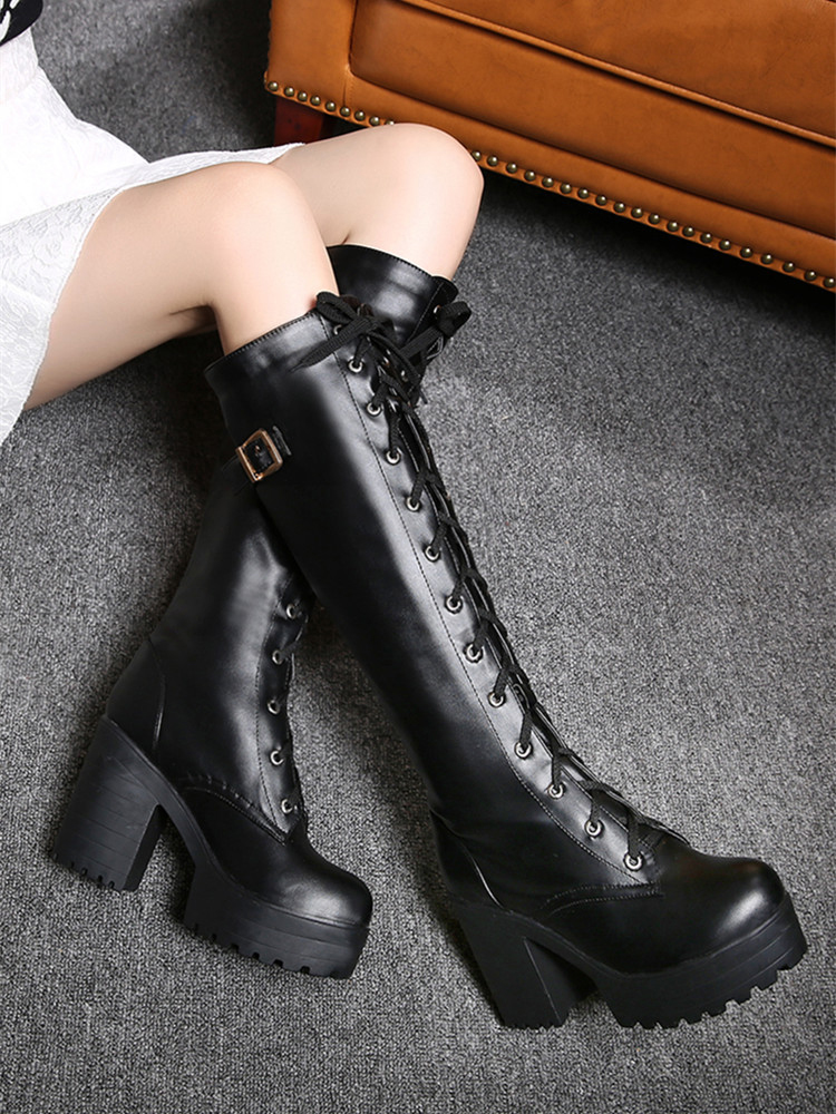 Gdgydh Shoes Heel High-Boots Spring Knee Autumn White Large-Size Winter Women Fashion