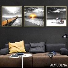 Скандинавские постеры и принты морской пейзаж Океанский мост рассвет велосипед Черно-белый холст живопись Современная Спальня украшение дома
