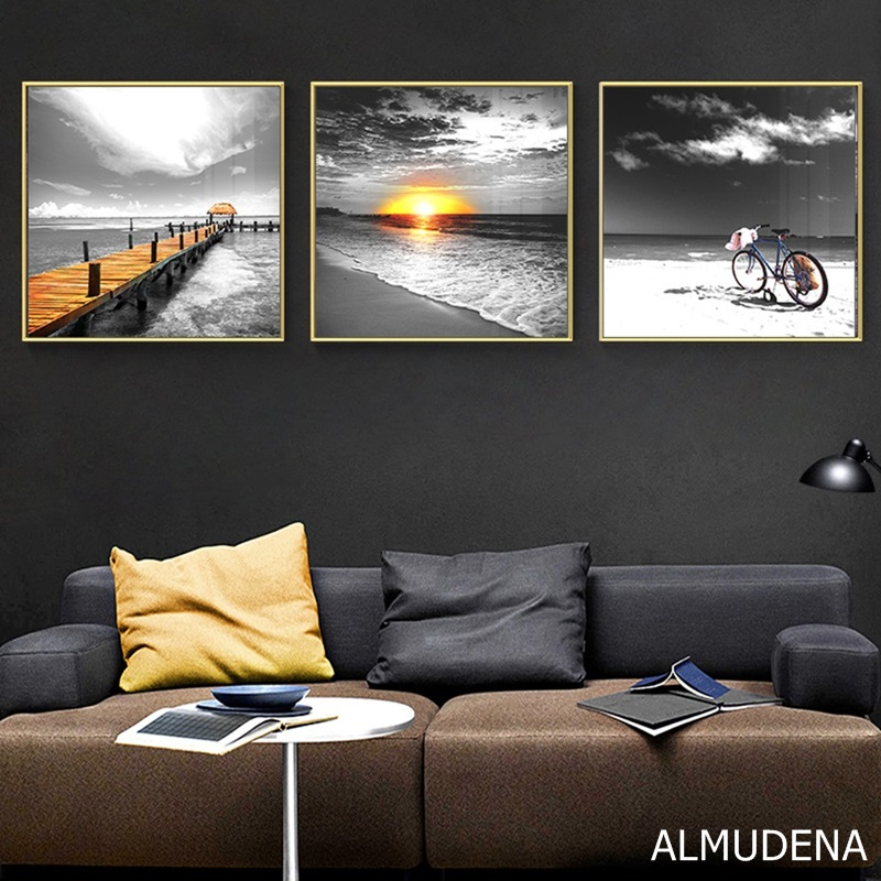 Nordic Posters And Prints Seascape Ocean Bridge Sunrise Bicycle Black And White Canvas Painting Modern Bedroom Home Decoration