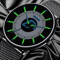 2020 moda męska czarne klasyczne zegarki luksusowe mężczyźni biznes zegarek kwarcowy na co dzień pasek z siatki świetliste dłonie zegar relogio masculino