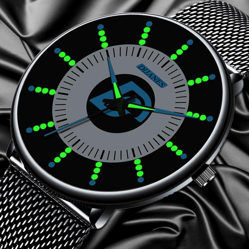 2020 Mens Fashion Black Classic Watches Luxury Men Business Casual Quartz Watch Mesh Belt Luminous Hands Clock Relogio Masculino