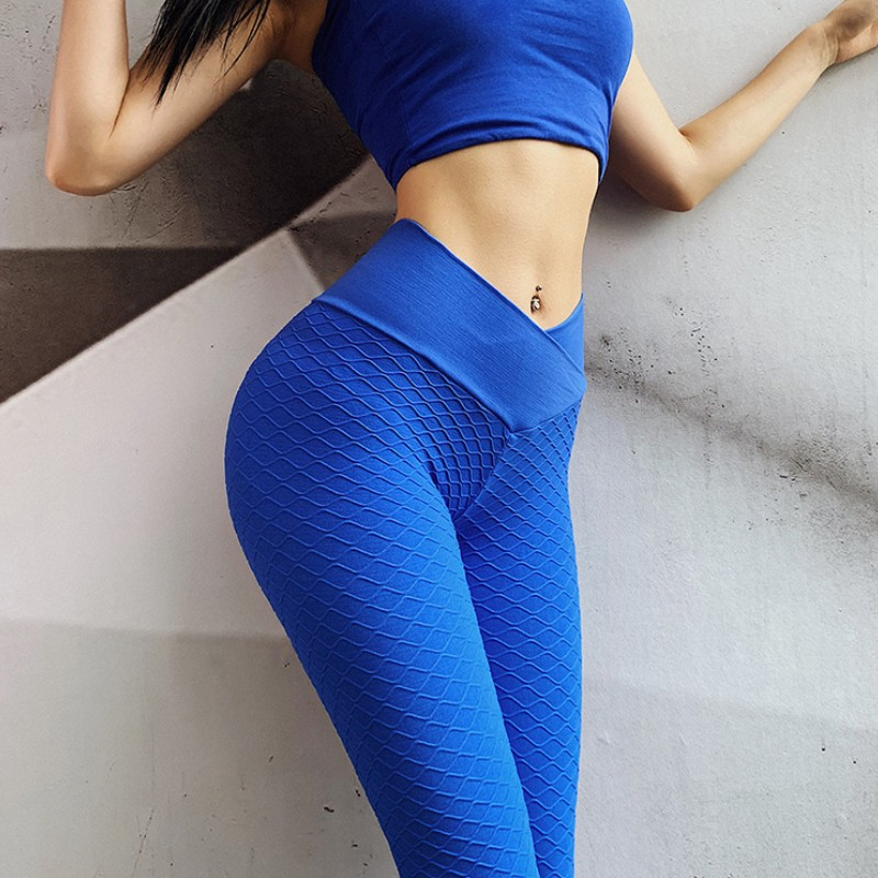Women Fashion Blue Leggings Long Pants Push Up Jacquard Fitness Sweatpants Women Sexy Casual High Waist Pants Workout Leggings