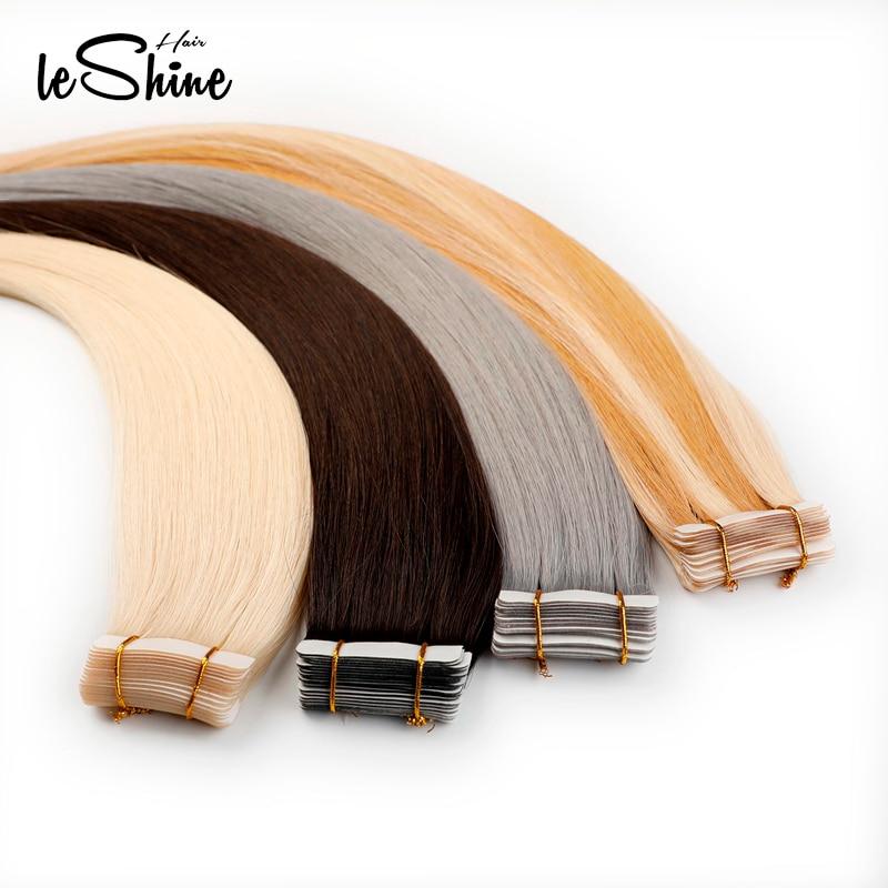 Leshine 100% Human Hair Platinum Blonde Bundles Virgin Tape Hair Extensions 14''18''20'' Hair Extensions Adhesive  20 PCS/Pack