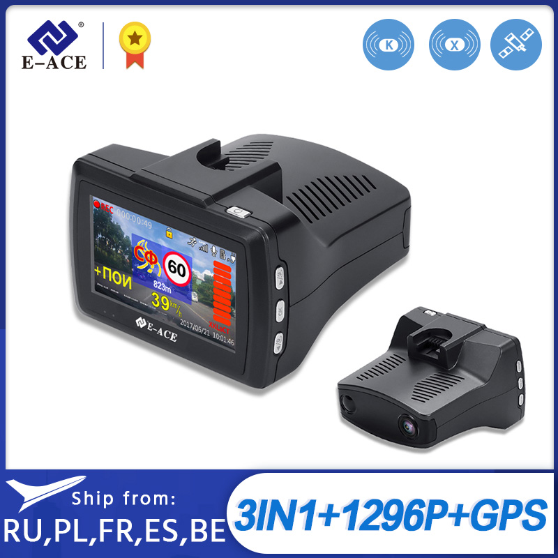 E-ACE G07 3 IN 1 <font><b>Auto</b></font> Dvr Dashcam 3,0 Inch HD 1296P Dash Cam Radar Detektor <font><b>GPS</b></font> <font><b>Auto</b></font> Registrator video Recorder Dash Kamera Dvrs image