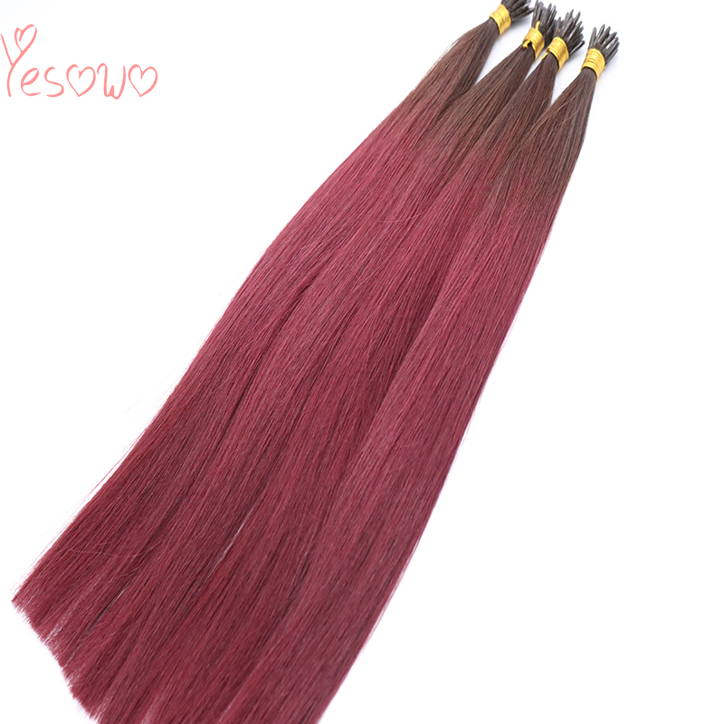 Yesowo 1g/strand Ombre Colored Two Tone Peruvian Raw Unprocessed Remy Human Hair Plastic I Tip Human Hair Extensions Keratin