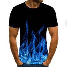Новинка 2020, Мужская футболка с рисунком пламени, летние модные топы с коротким рукавом и круглым вырезом, рубашка с дымчатым элементом, модн...