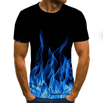 2020 new flame men's T-shirt summer fashion short-sleeved 3D round neck tops smoke element shirt trendy men's T-shirt 1