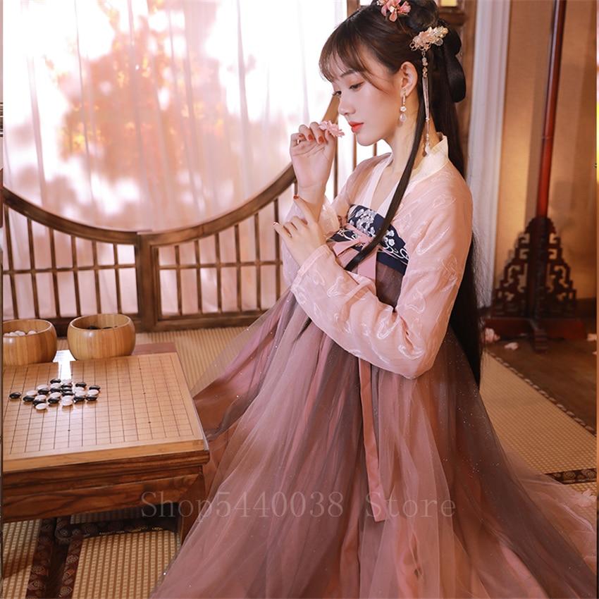 Elegant Woman Chinese Traditional Hanfu Embroidery Fairy Mesh Folk Dance Costume New Year Party Oriental Retro Princess Dress