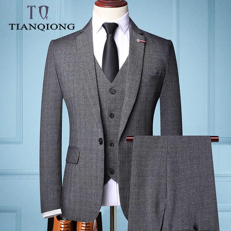 Tian qiong 브랜드 패션 남자 슬림 맞는 비즈니스 정장 남자 패션 3 조각 망 블레 이저 턱시도 정장 신랑 최고의 결혼식 정장