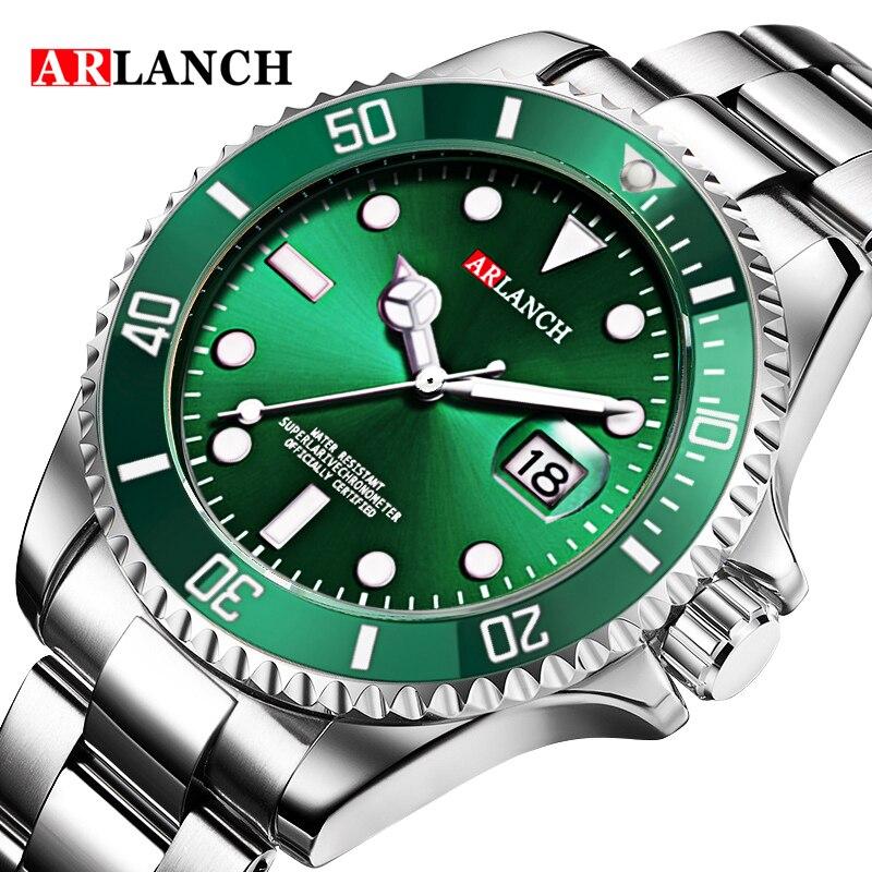 Watch Waterproof ARLANCH Black Green Calendar Stainless-Steel Men's Luminous Quartz Strap