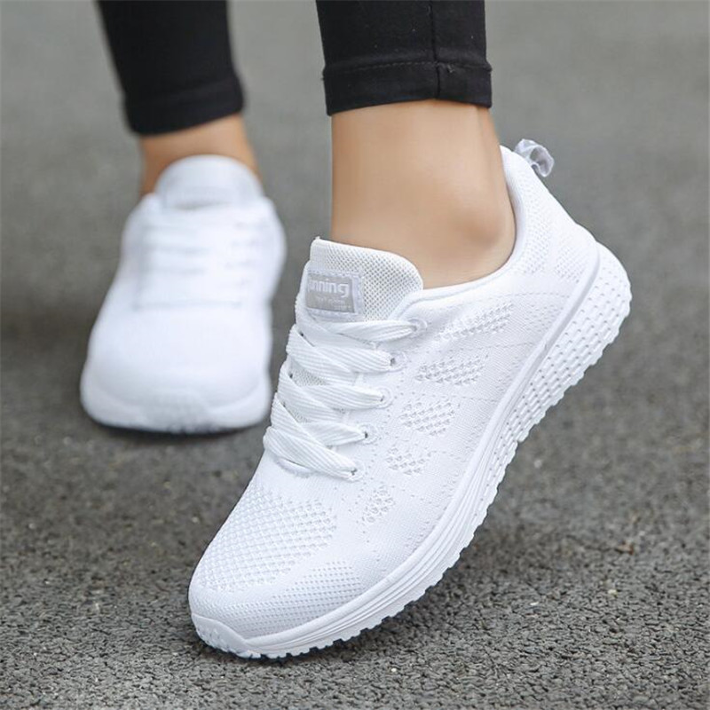 Sneakers Women 2019 Summer New Single Shoes Women Casual Shoes Fashion Breathable Walking Mesh Lace Up Flat Shoes