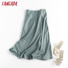 Tangada-Falda midi de satén con cremallera lateral para mujer, falda elegante de corte en A, Estilo vintage, para oficina, 6D18