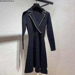 Французские элегантные 2020 жемчужные маленькие лацканы с длинным рукавом приталенные облегающие Женские платья 190537