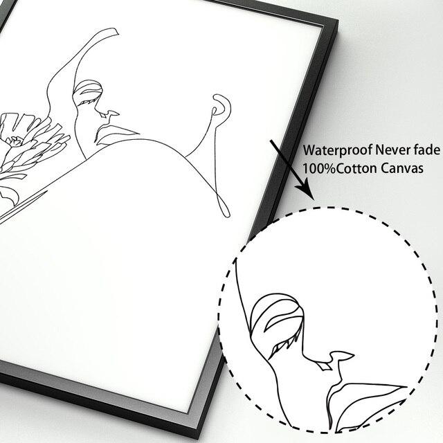 Zwart Witte Lijn Liefde Kus Meisje Hand Wall Art Canvas Schilderij Nordic Posters En Prints Muur Foto S Voor Woonkamer home Decor