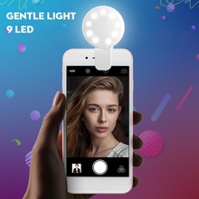 Ring Light For Photography Live Selfie Ring Light Rechargeable 9 LED Dimmable Clip Mini Ring Lights for Camera Phone Tablets