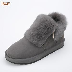 Image 5 - INOE Fashion Cow Suede Leather Real Rabbit Fur Woman Casual Winter Ankle Snow Boots for Women Short Winter Shoes Zipper Style