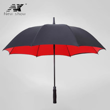 Large Long Handle Umbrella Double Layer Umbrella Automatic Sun Strong Windproof Rain Women Umbrellas Black Golf Mens Gifts R017(China)